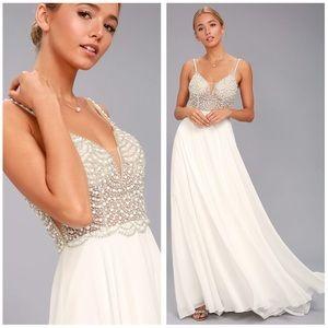 Lulu's True Love White Beaded Rhinestone Dress